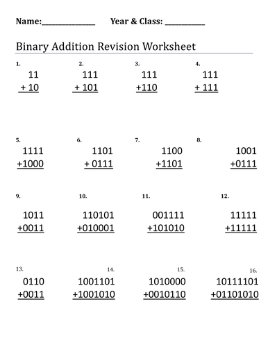 Binary Addition and Subtraction by chrismooney1 - Teaching Resources ...