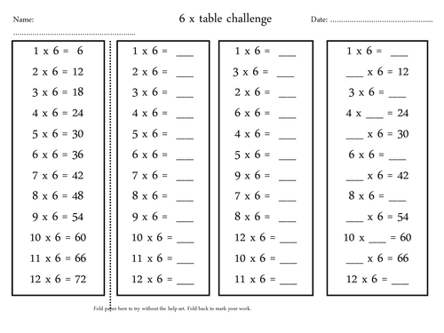 6 x table challenge by annelouisep uk teaching resources for Rtu time table 4 th sem 2015