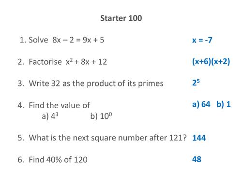 Mixed C Grade GCSE Maths Starters