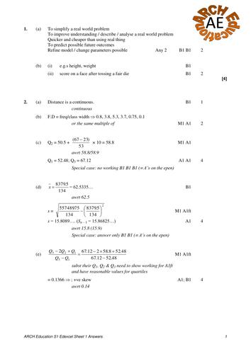 S1 Edexcel Revision sheet 1