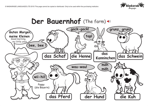 KS1 GERMAN: Level 1: Farm and Zoo animals by