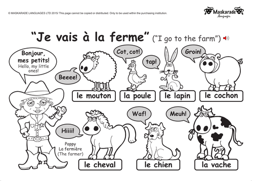 KS1 FRENCH: level 1: Farm and Zoo animals by