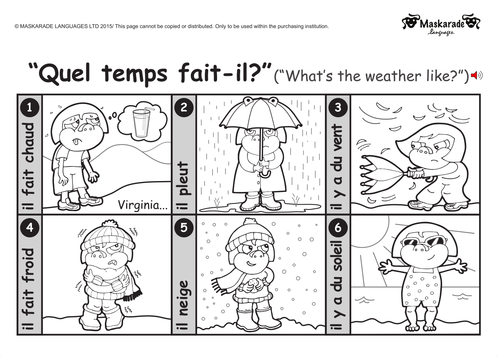 KS1 FRENCH: Level 1: Clothes-Weather-Holidays By