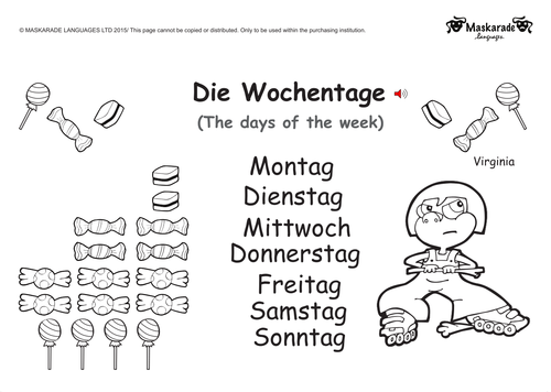 KS1-GERMAN: Level 1: DAYS OF HE WEEK, DAILY ROUTINE & MY HOUSE
