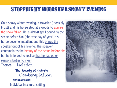 stopping by woods on a snowy evening literary devices