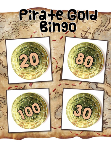 Pirate Themed Bingo Cards from Units to Hundreds