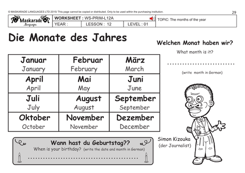 german ks2 level 1 months of the year by maskaradelanguages teaching resources tes. Black Bedroom Furniture Sets. Home Design Ideas