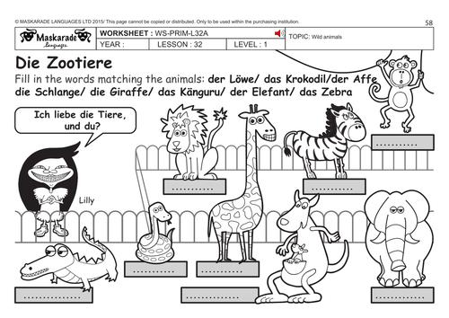 GERMAN KS2 Level 1: Zoo animals by maskaradelanguages | Teaching ...