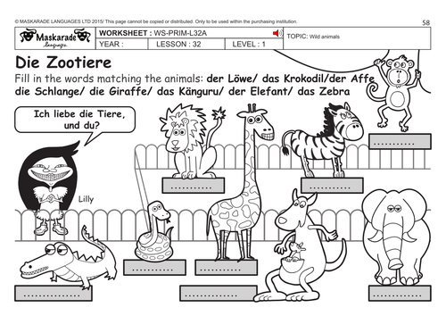 german ks2 level 1 zoo animals by maskaradelanguages teaching resources. Black Bedroom Furniture Sets. Home Design Ideas