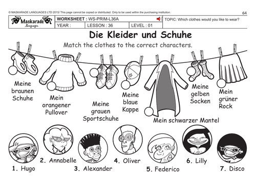 GERMAN KS2 Level 1: Clothes And Shoes By