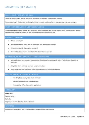 Early KS2 - ICT - Animation Unit (Pivot StickFigure)  - Planning, Resources, Assessment.