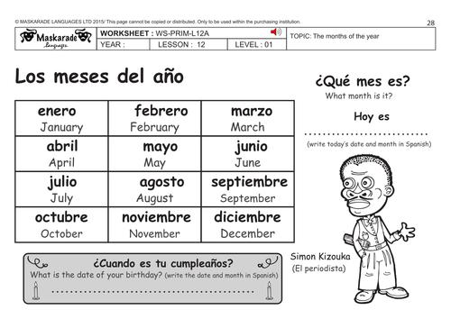KS1 SPANISHLevel 2 Hobbies Days of the week Months of the – Days of the Week in Spanish Worksheet