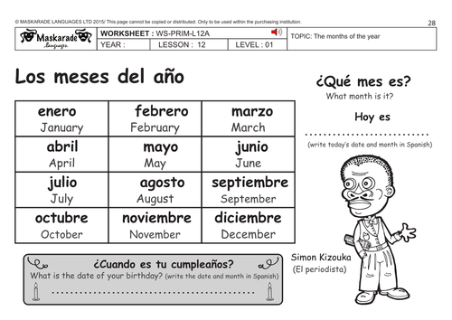 SPANISH KS2 Level 1: Months of the year/ Happy birthday Lulu! by ...