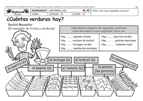 SPANISH KS2 Level 1: Fruit And Vegetables? How Much Does It Cost? By Maskaradelanguages