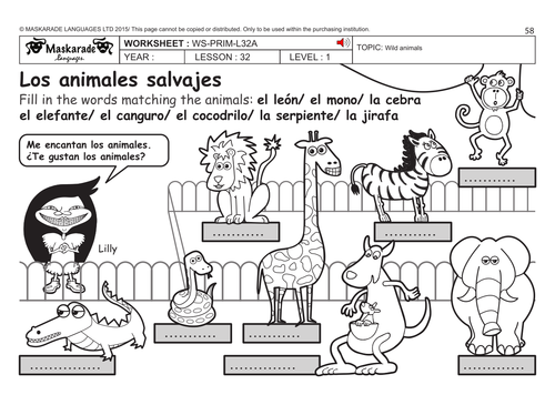spanish ks2 level 1 zoo animals by maskaradelanguages teaching resources. Black Bedroom Furniture Sets. Home Design Ideas