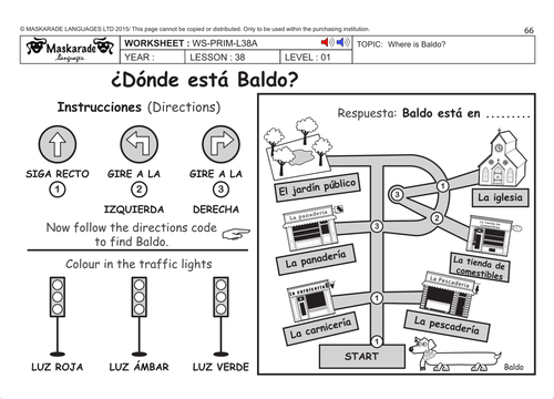 SPANISH KS2 Level 1 Directions by maskaradelanguages Teaching – Directions Worksheet