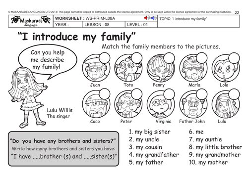 ENGLISH KS2 Level 1: My family