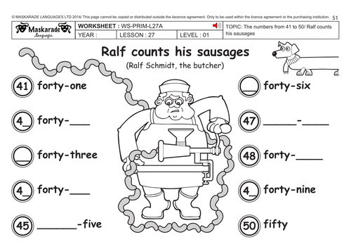 ENGLISH KS2 Level 1: Numbers 41 to 50 by