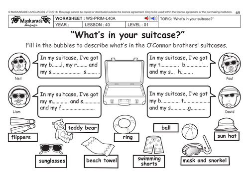 ENGLISH KS2 Level 1: Summer holidays/ What s in your suitcase? by maskaradelanguages Teaching ...