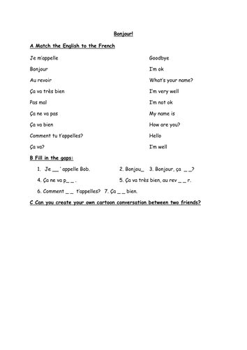 french greetings worksheet by everybodyeducating. Black Bedroom Furniture Sets. Home Design Ideas