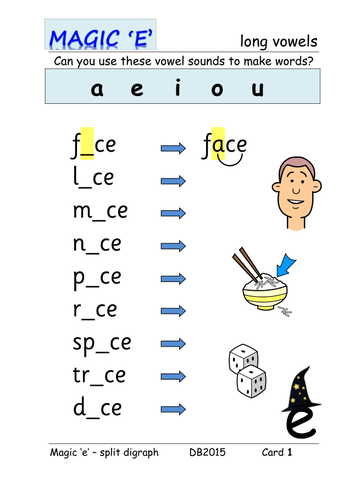Phase 5: magic \'e\' / split digraph [mixed] word table cards by ...