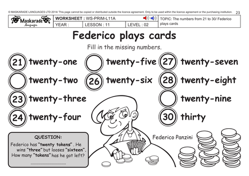 ENGLISH KS2 Level 2: Numbers 21 to 30/ Federico plays cards