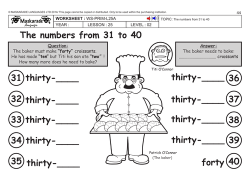 ENGLISH KS2 Level 2: Numbers 31 to 40