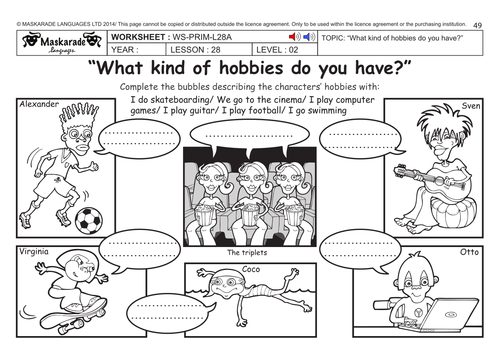 ENGLISH KS2 Level 2: What kind of hobbies do you have?