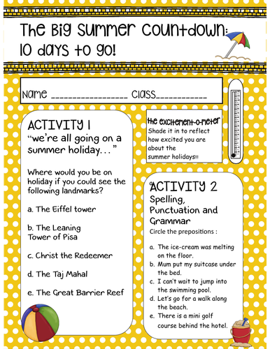 Big Summer Countown Booklet Primary End of Year Fun
