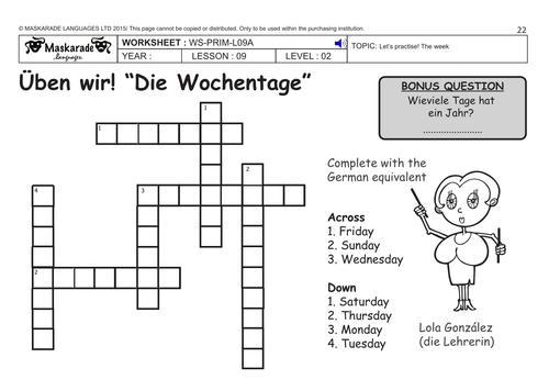 Days Of The Week In German Worksheet - Worksheet Printable Blog