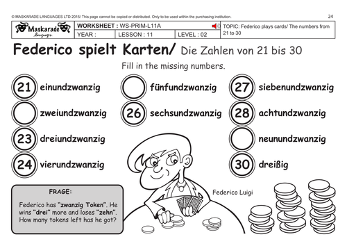 GERMAN KS2 Level 2: Numbers 21 to 30/ Federico plays cards