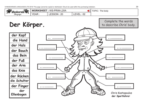 GERMAN KS2 Level 2: The body/ Who am I? by