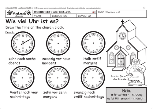 GERMAN KS2 Level 2: What time is it? by maskaradelanguages