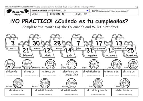 SPANISH KS2 Level 2: When is your birthday? by ... - photo#48