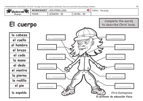 SPANISH KS2 Level 2 The body Who am I by maskaradelanguages – Body Parts in Spanish Worksheet