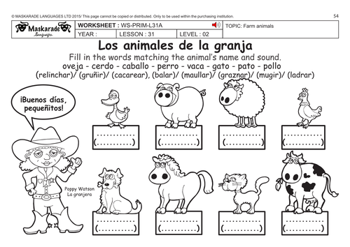 SPANISH KS2 Level 2: Farm and vertebrate animals by ...