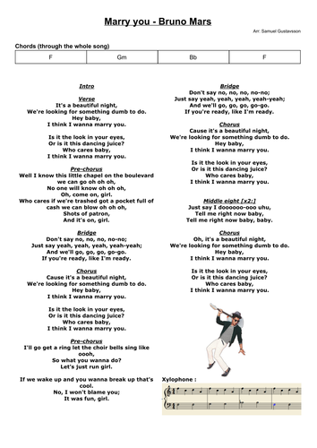 Marry You Bruno Mars Chords And Score For Band And Singer By