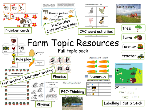 Farm topic resource pack and lesson activities