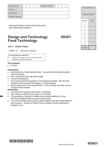 GCSE FOOD TECHNOLOGY PRACTISE PAPERS