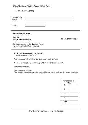 IGCSE Business Studies (Paper 1) Mock Exam
