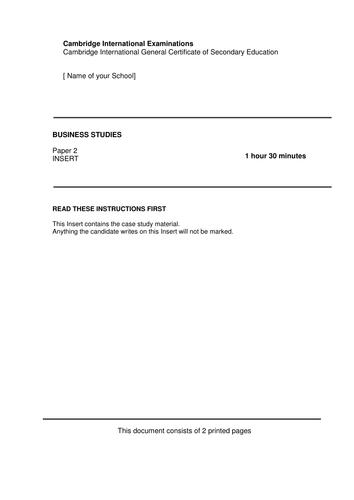 IGCSE Business Studies (Paper 2) Mock Exam