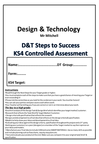 AQA D&T steps to success booklet