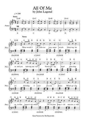 All Of Me By John Legend Easy Notation Worksheet By Pete216state