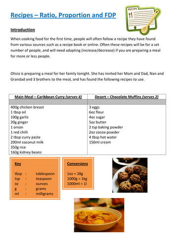 Functional Maths Activity (L1 - L2) - Recipes (and GCSE)