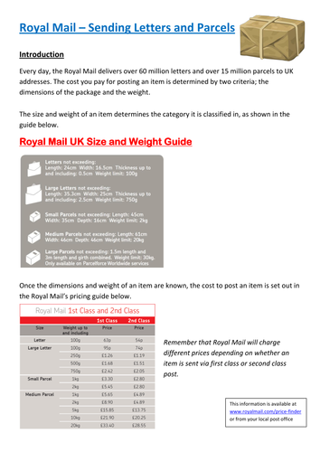 Functional Maths Activity (L1 - L2) - Royal Mail - Sending Letters and Parcels (and GCSE)