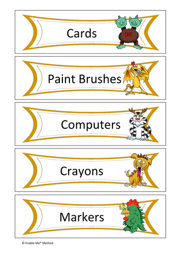 30 Monster themed classroom labels