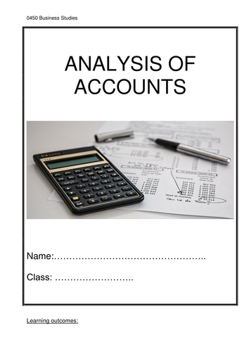 Analysis Of Accounts Worksheet