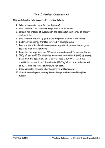 The 10 Hardest Questions in P1. AQA GCSE Revision for Physics or Core
