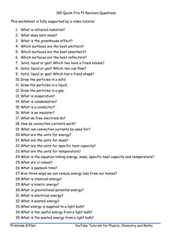 100 Quick Fire P1 Revision Questions. AQA GCSE Physics or Core