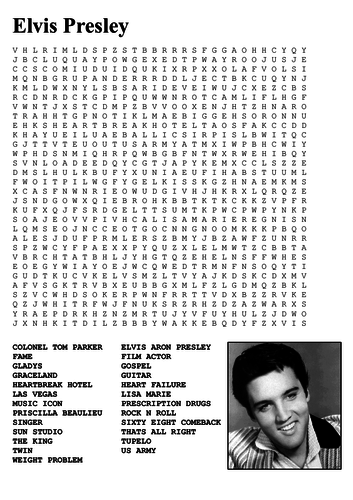 Elvis Presley Word Search By Sfy773 Teaching Resources Tes